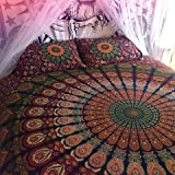 Queen Size Indian Tapestry, Large Mandala Wall Hanging, Bohemian Bedding Queen, Peacock Feather Gypsy Dorm Decor, Hippie Beach Blanket, Boho Picnic Throw