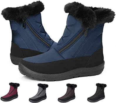 Gracosy Bottines de Neige Femmes Filles, Chaussures Ville Hiver Fourrure Bottes de Pluie Après Ski Imperméable Boots Fourrée Chaude pour Randonnée