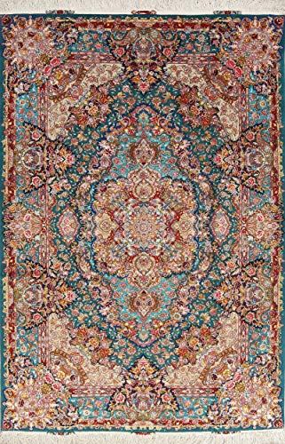 Rug Source One-of-A-Kind New Tebriz Traditional Handmade 7×10 Green Wool/Silk Area Rug (10′ 0″ X 6′ 8″)