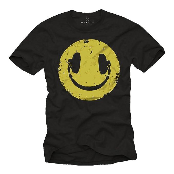 2a3d5c8896eb Vintage Smile T-Shirt für Herren mit KOPFHÖRER schwarz Größe S-XXXL ...