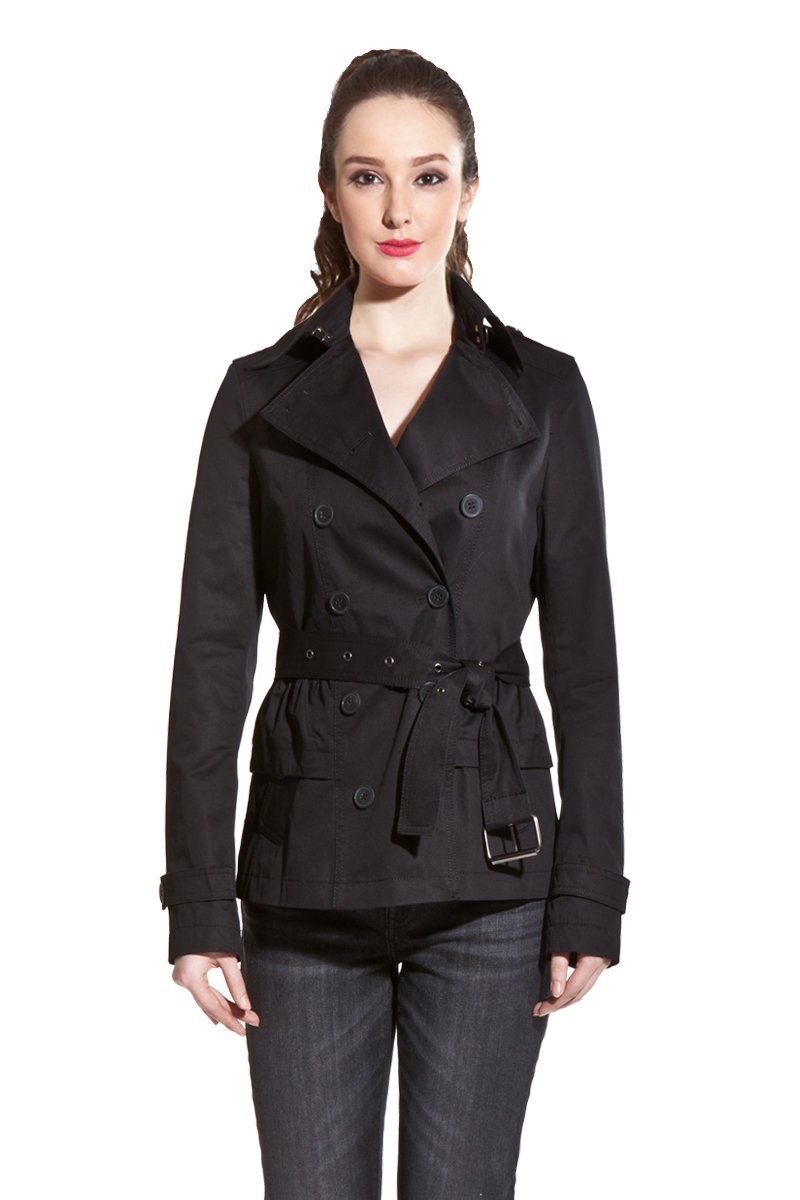 ZAREEN by BC24 Women's Short Cotton Jacket with Belt (Large, Black)