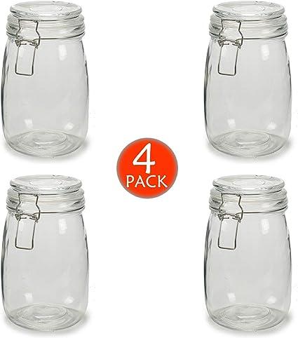 4 x Botes de Cristal para Cocina de 1 litro con Cierre Hermético ...