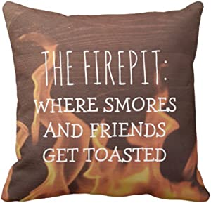 antoipyns Throw Pillow Cover Campfire Funny Camping Saying Camper Smores Camp Decorative Pillow CASE Home Decor Square 18 X 18 INCH Pillowcase