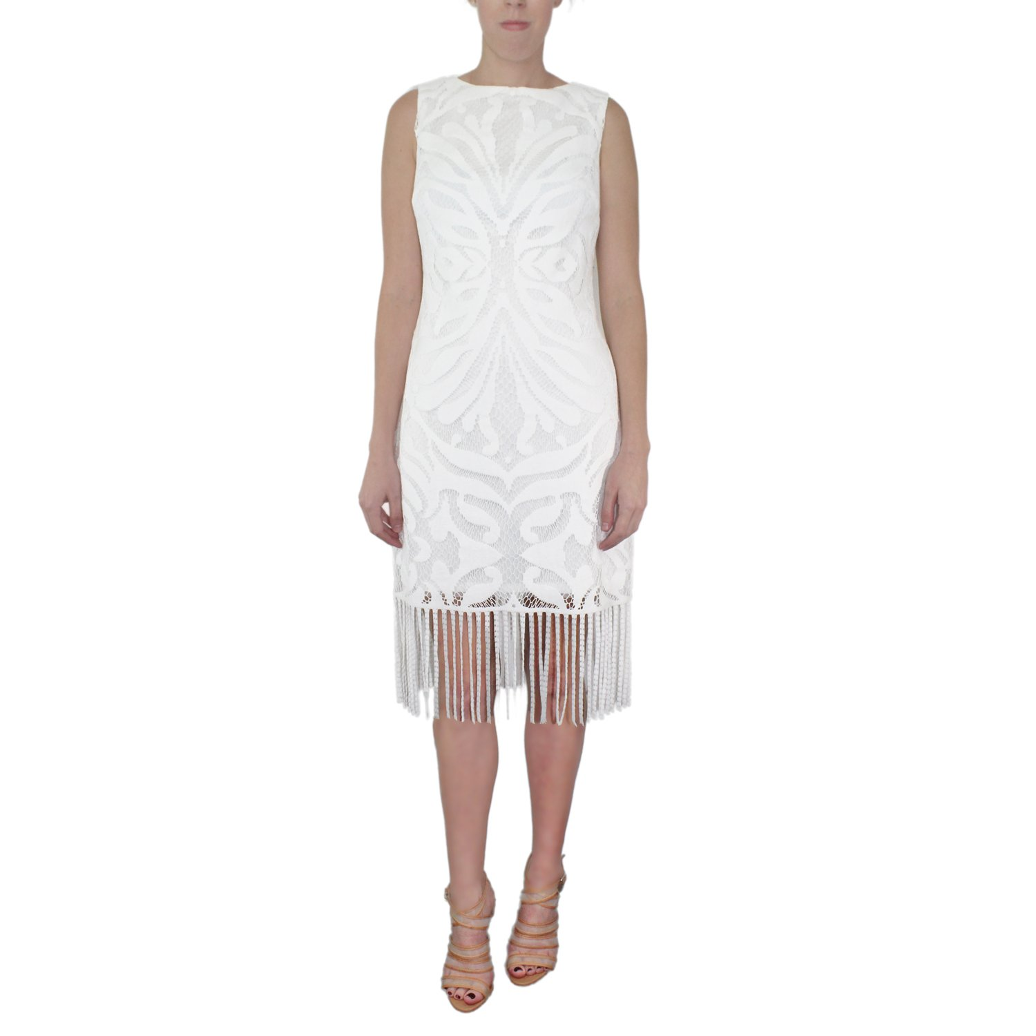 Julia Jordan Womens Sleeveless Knit Fringe Dress Ivory 12