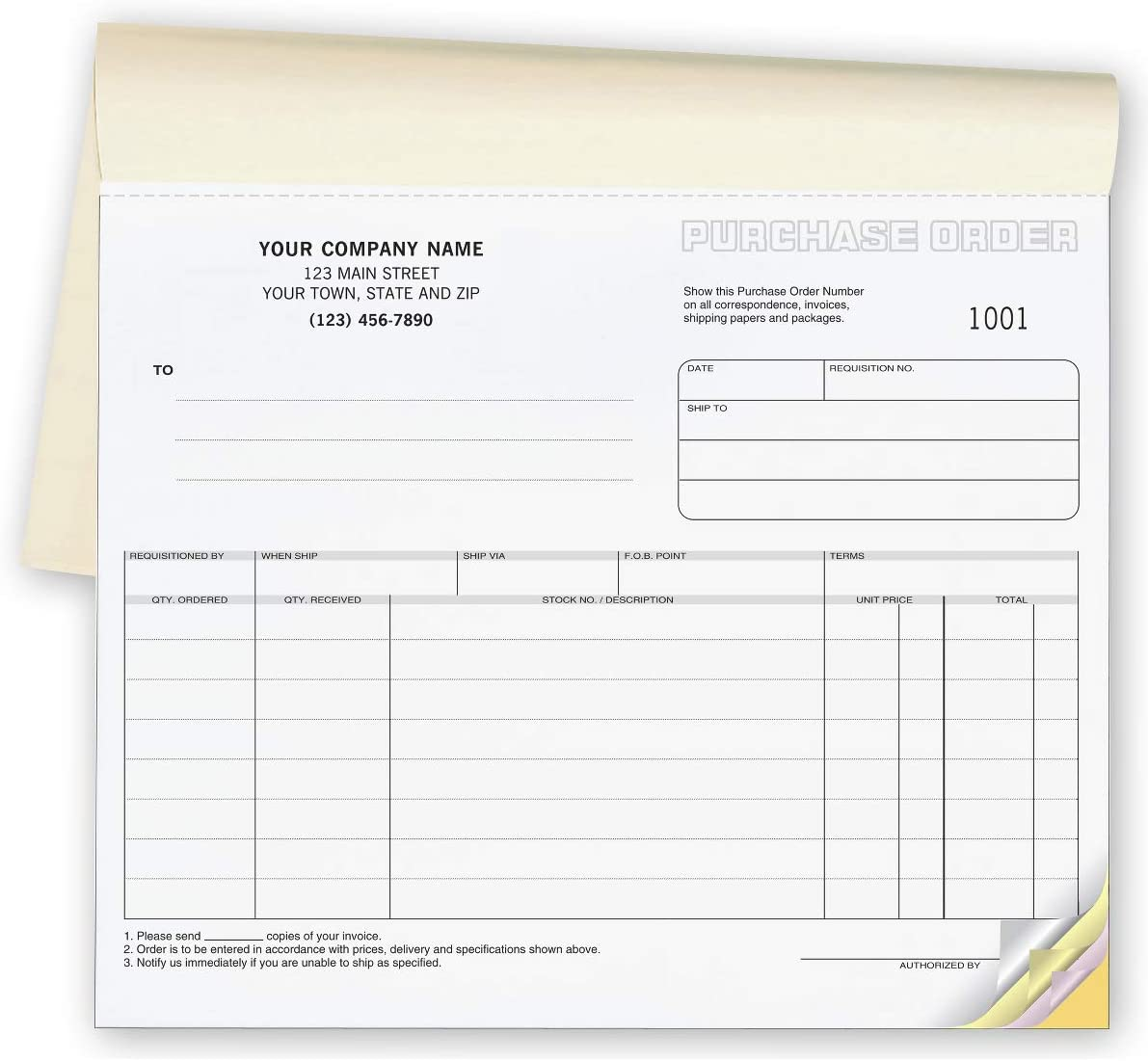 CheckSimple Purchase Order Forms 8 1//2 x 7 500 2-Part Forms Short Format Custom Business Info
