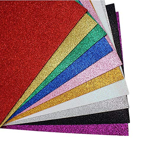 MeCamping A4 Glitter EVA Sponge Paper Foam Sheet Faux Vinyl Leatherette Fabric Sheets 10-Pack for Kids Craft Activities DIY Handmade Bows Art Multicolor Paper (Multicolor - No Adhesive)]()