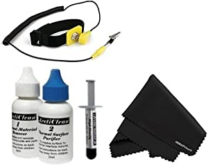 "Arctic Silver 5 (Anti-Static Kit) - 3.5 Grams with ArctiClean 60 ML Combo Kit + Microfiber (7"" X 6"") Cleaning Cloth + Anti Static Wrist Strap"