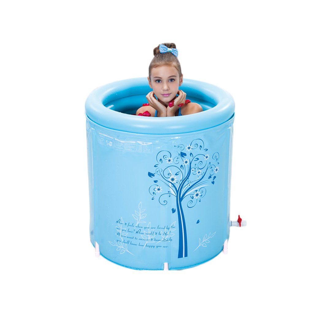 Round Laval Folding Bathtub Adult Blue Comfort Bath Bathtub Bathroom SPA Family Kids Swimming Pool ( Color : Blue , Size : L )