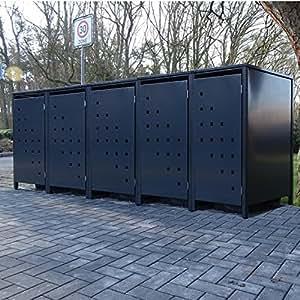 5–Cubo de basura Cajas Modelo No. 3para 120litros de basura toneladas/completo Antracita RAL 7016/Resistente a la intemperie con revestimiento de polvo/con Tapa y puerta delantera