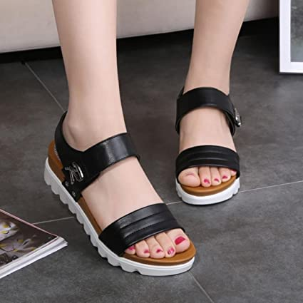 9bf2e606e90d Wensltd Women Sandals thick- soled shoes Flat Sandals Comfortable Ladies  platform shoes (Black
