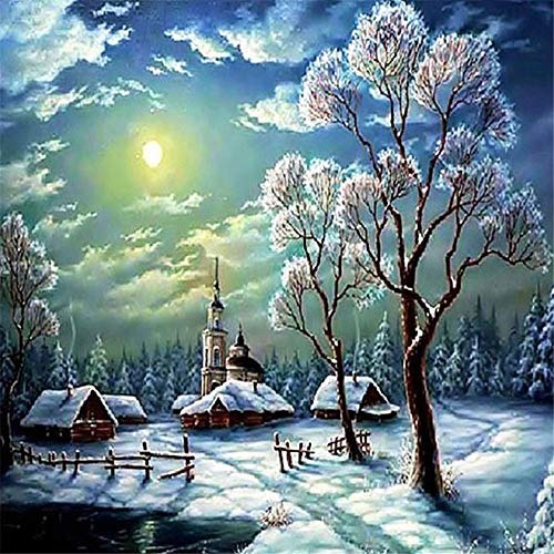 - 5D Diamond Painting Square Round Drill Snowflake Trees?Arts 3D DIY Diamond Embroidery with Rhinestones Cross Stitch Kit Crafts Decor 19.7X23.6 Inches