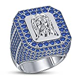 TVS-JEWELS Jesus Face Head Silver 925 White Platinum Plated Round Cut Blue Sapphire Hip Hop Ring (12.5)