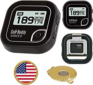 GolfBuddy Voice 2 Golf GPS/Rangefinder Bundle with Ball Marker and Magnetic Hat Clip