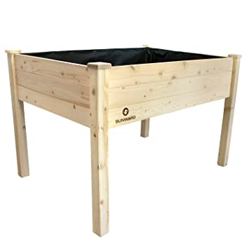 Attractive Sunward Patio Raised Garden Bed Elevated Planter Box (48 X 34 X 32)