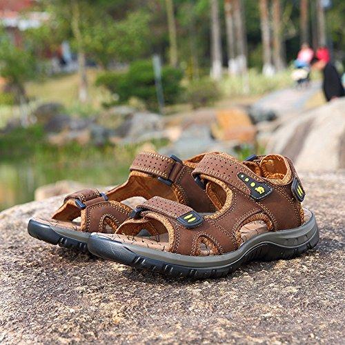 da YTTY Pelle Spiaggia da e in Sandali Comode Pantofole Uomo Esterni Comodi Comode Cachi Sandali q7E7w4