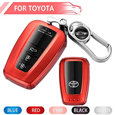 Key Fob Cover for Toyota, Soft TPU Key Fob Case All-Around Protector Plating Shell Fit Keyless Smart Remote Key of Toyota 2020 2020 Toyota Camry RAV4 Avalon C-HR Prius Corolla - Red: Automotive