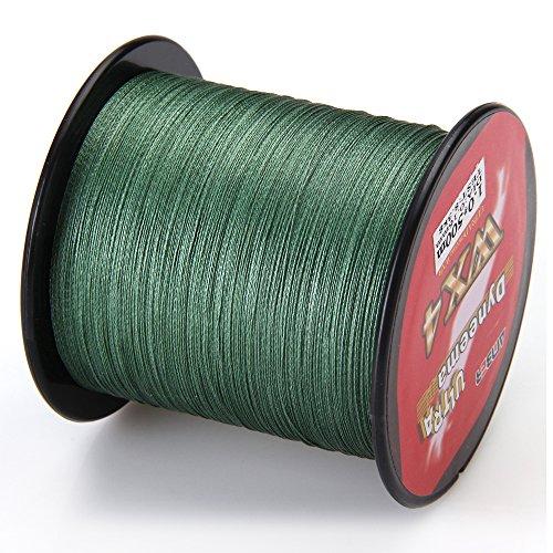 High Sensitivity Super Dyneema Strong 4-strand Braided Fishing Line (Green, 545-Yard  25-Pound Test  0.009-Inch Diameter)