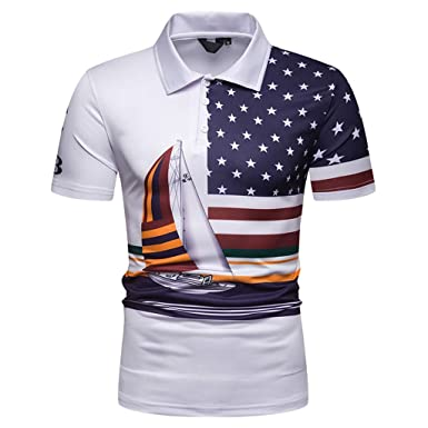29ca0f92722 Amazon.com  Simayixx Summer Sport Clothes Men s Tech Short Sleeve T-Shirt  America Flag Print Blouses Plus Size Golf Tops Spring Tee  Clothing