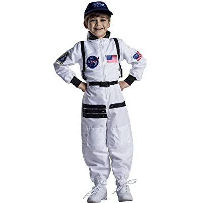 Dress Up America Astronaut Costume for Kids–NASA White Spacesuit for Boys & Girl: Toys & Games