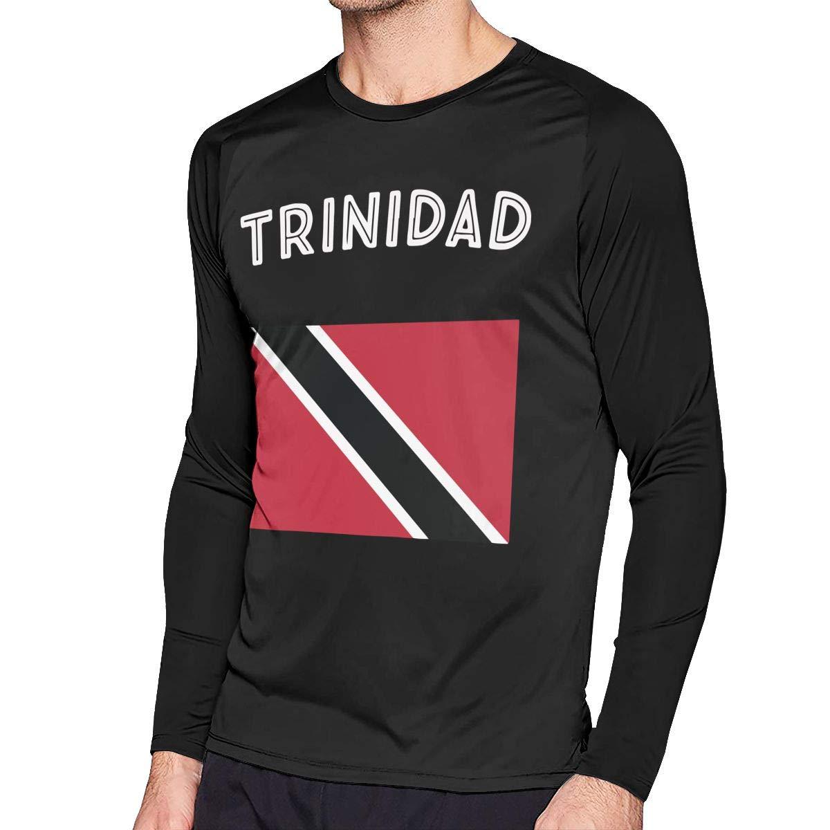 Trinidad Flag Mens Baseball O Neck Long Sleeve Shirts Raglan Top