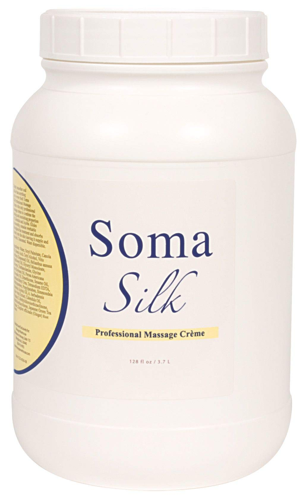 Professional Massage Creme by Soma Silk, 1 Gallon - Smooth & Silky Texture, Moisture Rich Massage Cream - Calendula and Jojoba Oils to Promote Healthy Skin - Easy Glide and Workability by Soma