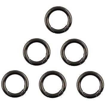 Gun Black Alloy Round Carabiner Spring Snap Hooks Clip Keychain