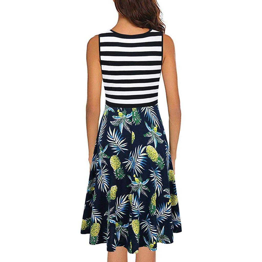 Lotus.Flower Womens Sleeveless Striped Printed Patchwork Dress Party Wedding Guest Dress