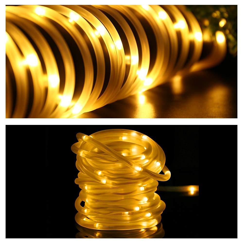 Hochzeit,Party und Weihnachten Warmwei/ß Solar Lichtschlauch Lichterkette Vegena 12 M 100 LED 8 Modi Wasserdicht IP65 lichtschlauch au/ßen f/ür Garten,Pavillon