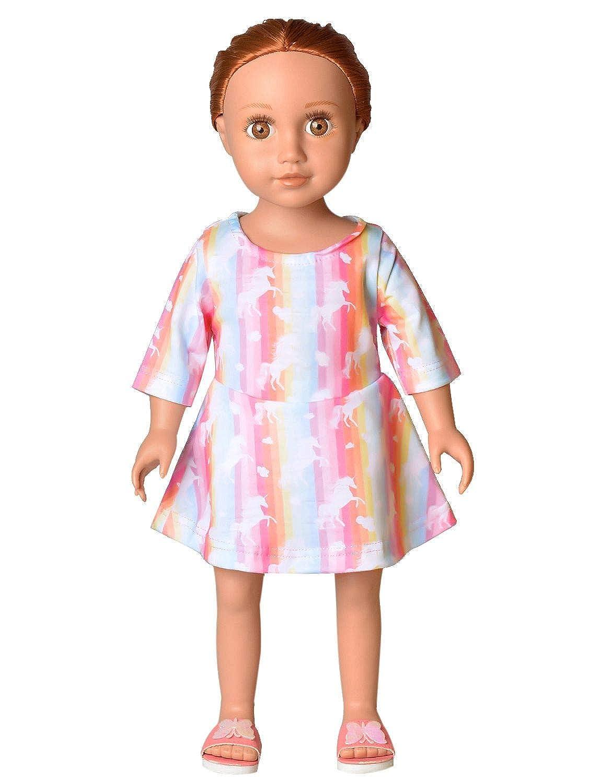 "Rainbow Pegasus//White Capri Leggings for 18/"" Doll Clothes American Girl"