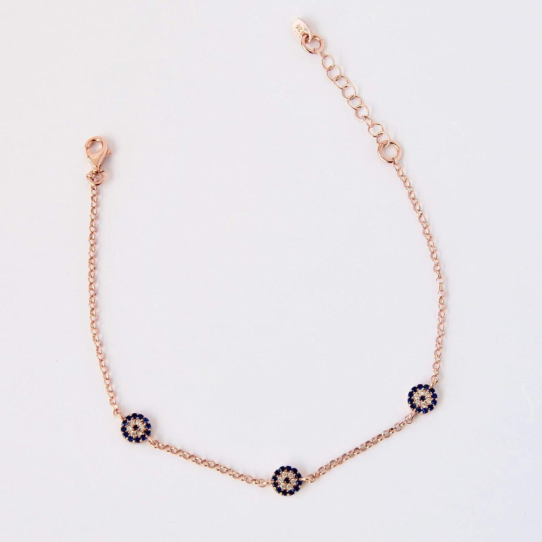 Evil Eye Bead Dorica Silver Bracelet 925 Sterling Silver Rose Gold Plated