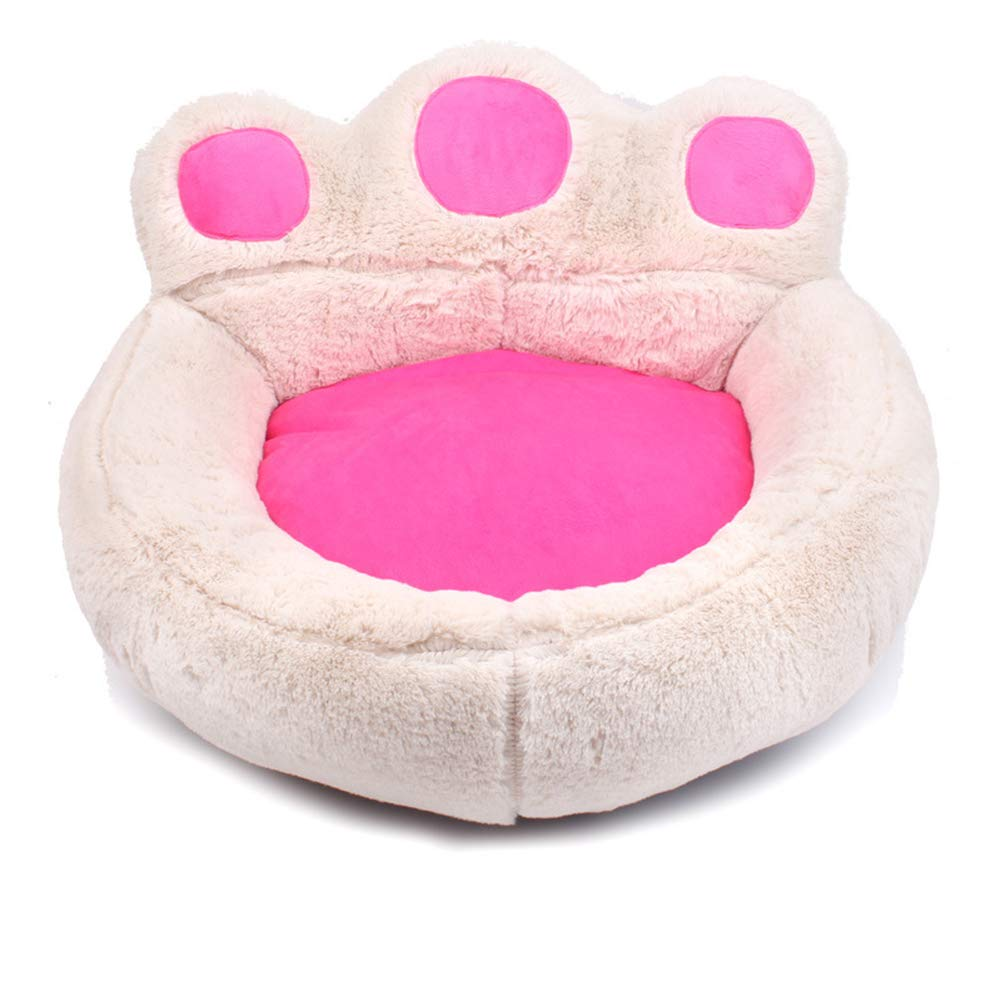 Kennel Cat Nest  Pet Supplies Autumn and winter bear paw pet dog pad,White,oversized