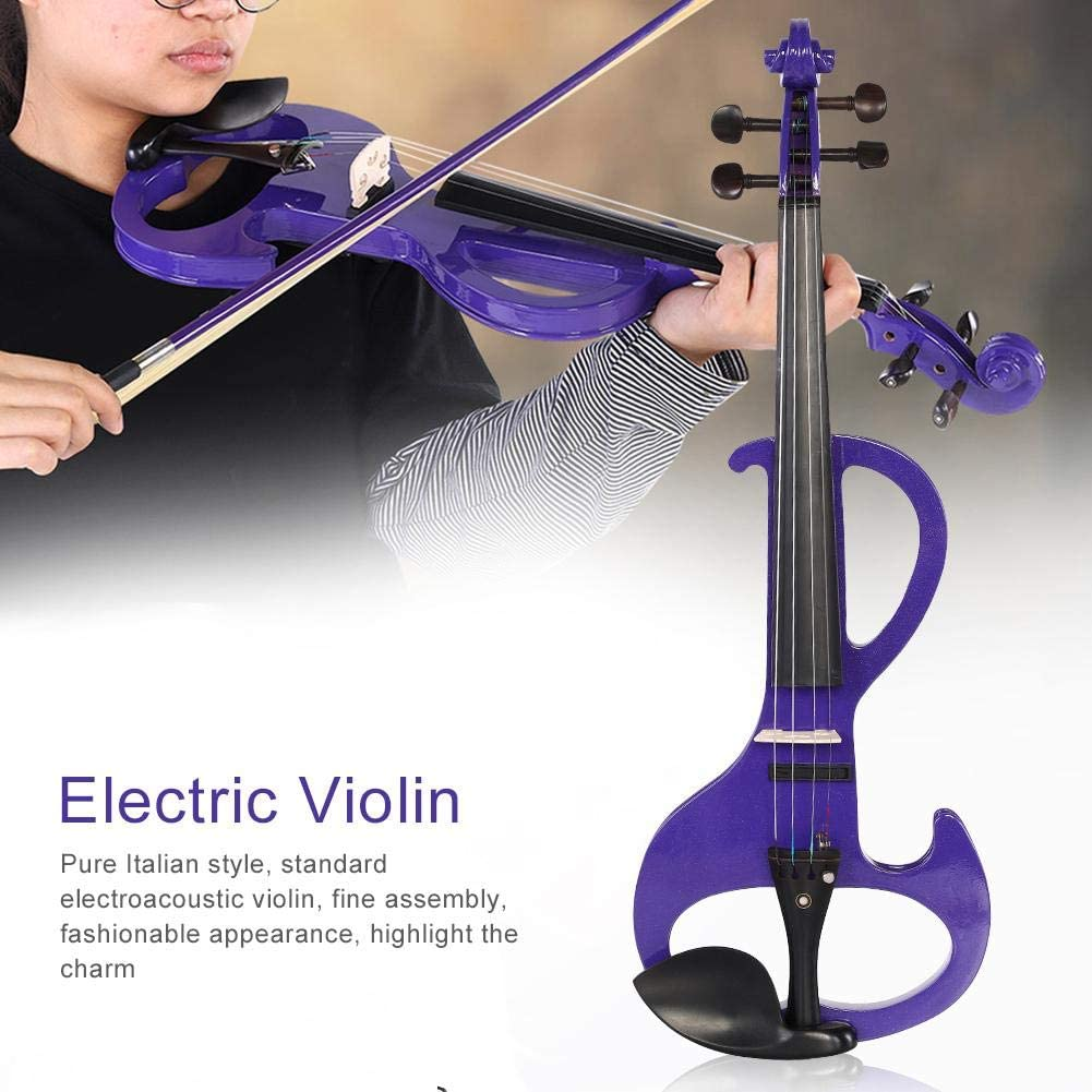 Zetiling Viol/ín 4//4 Instrumento Musical de viol/ín el/éctrico de tama/ño Completo P/úrpura con Estuche Colofonia para Principiantes