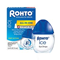 Rohto Ice All-in-one, Multi-Symptom Relief Cooling Eye Drops, 0.4 oz, 3Count
