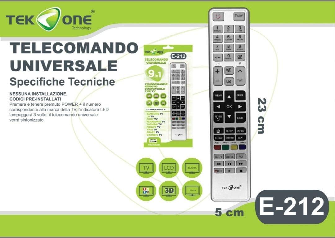 Telekone - Mando a Distancia Universal 9 en 1 Compatible con TV Samsung LG Sony Akai GRUNDING PANASONIC Toshiba Philips Sharp: Amazon.es: Electrónica