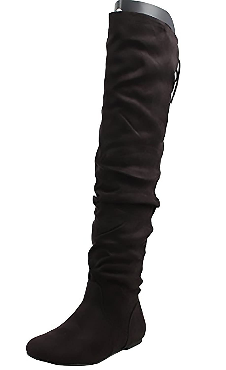 Soda Women's Faux Suede Slouchy Over The Knee Back Tie Flat Dress Boot