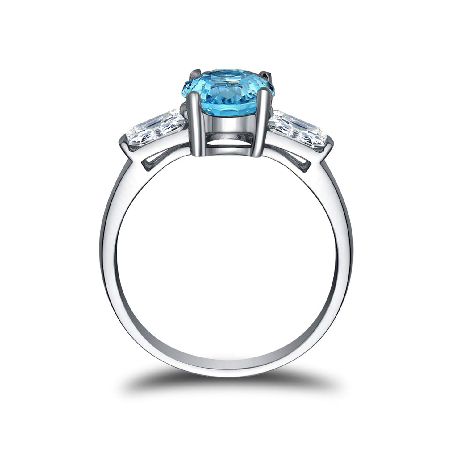 AMDXD Jewelry 925 Sterling Silver Ring Women Blue Round Shape Topaz Round Rings