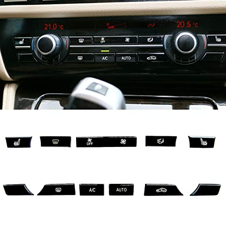 Bright Black Air Conditioning Button Covers Compatible with BMW 528 535  550, Jaronx Uprgaded Heater Climate Control Button Replacement-11Pcs(Fits:  BMW