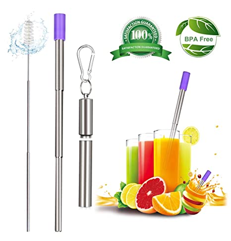 Collapsible Straws Drinking Reusable, Telescopic Stainless Steel Metal  Straws, Portable Reusable Straws with Keychain Cases and Foldable Cleaning