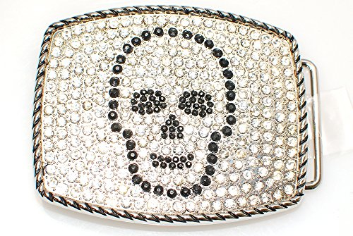 Club Urban Men's Black Diamond Skull Belt Buckle Silver (Diamond Skull Belts Clothing)