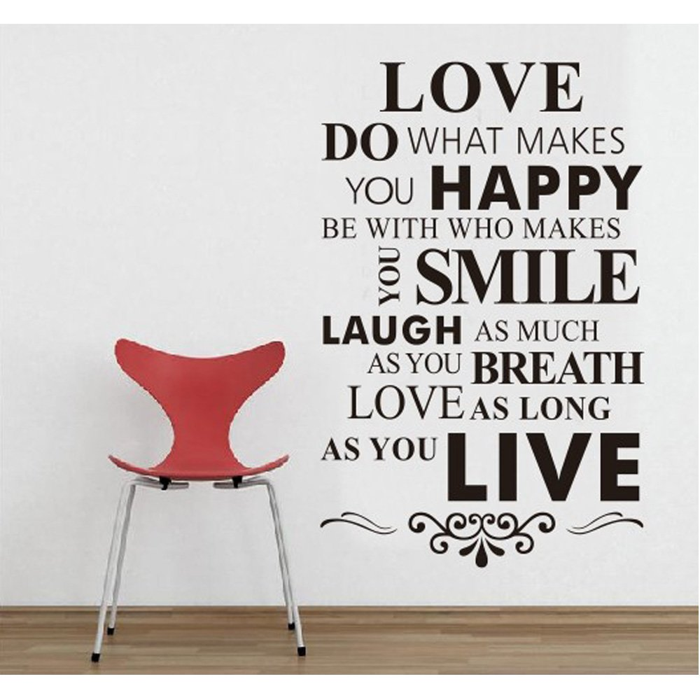 Mzy llc tm love do what makes you happy be with who makes you smile as you breath love as long as you live house rule black quotes wall stickers home