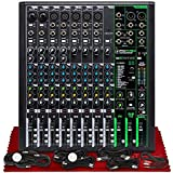 Mackie ProFX12v3 12-Channel Sound Reinforcement Mixer with Built-In FX + Basic XLR/USB/TS/TRS/RCA Cables Bundle & Fibertique Microfiber Cleaning Cloth