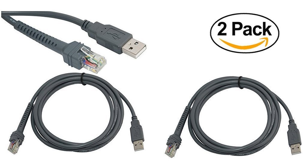 Symbol Ls2208 Usb Cable Cba U01 S07zar 2 Pack Amazon Office