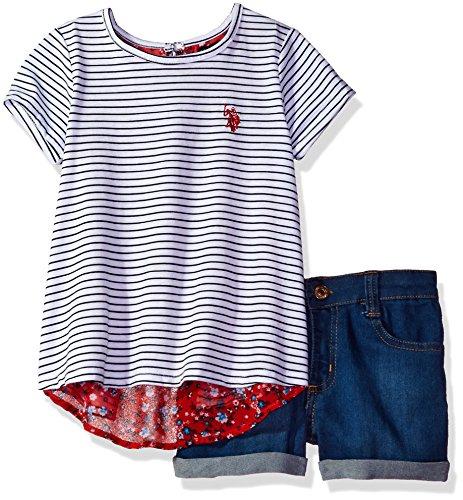 U.S. Polo Assn. Little Girls' Flyaway T-Shirt Chiffon Back and Stretch Denim Short, Multi, 5 (Girls Clothes)
