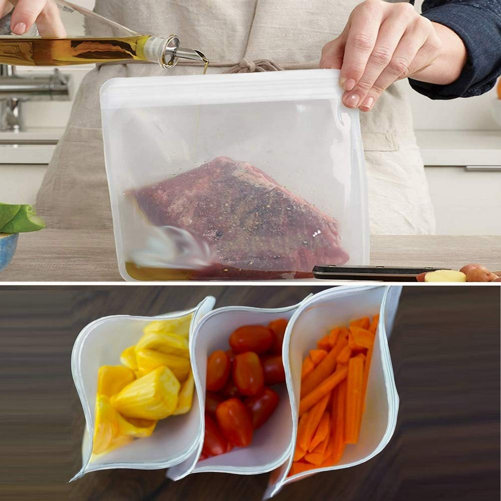 Reusable Storage Bags - 12 Pack BPA FREE Freezer Bags( 7 Leakproof Reusable Sandwich Bags + 5 THICK Reusable Snack Bags)Extra Thick PEVA Leakproof Ziplock Lunch Bags for Food Marinate Meat Fruit Cerea