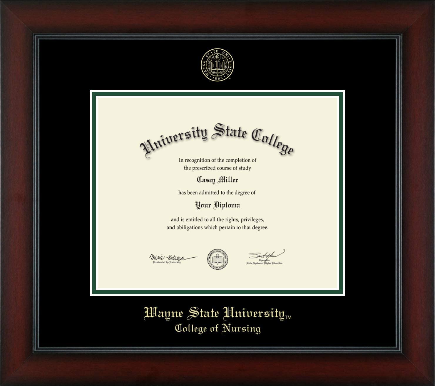 Wayne State University College Of Nursing Officially Licensed Gold Embossed Diploma Frame Diploma Size 10 X 8