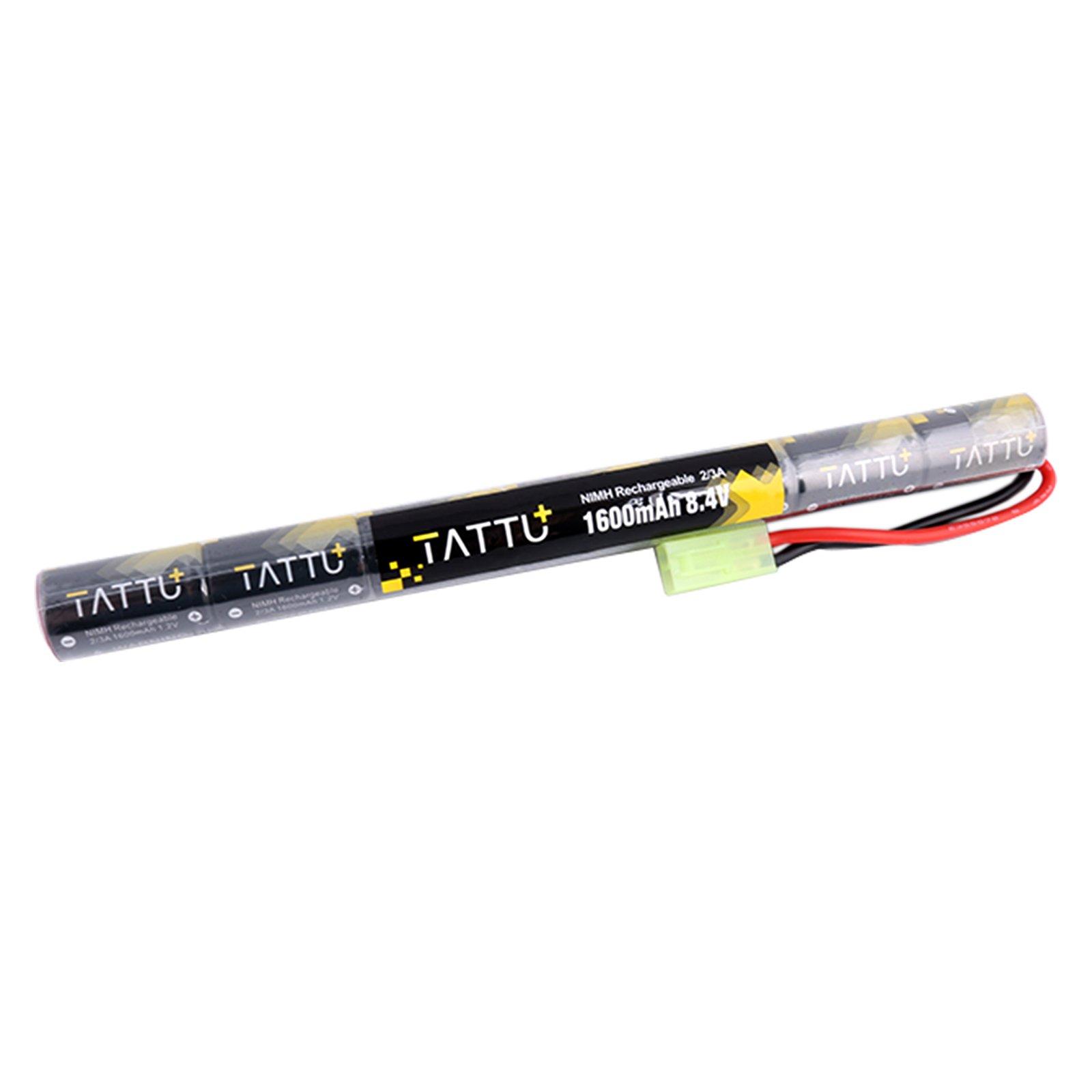 TATTU 8.4V NiMH Battery,1600mAh Butterfly Nunchuck Stick Battery with Tamiya Connector for Airsoft Gun