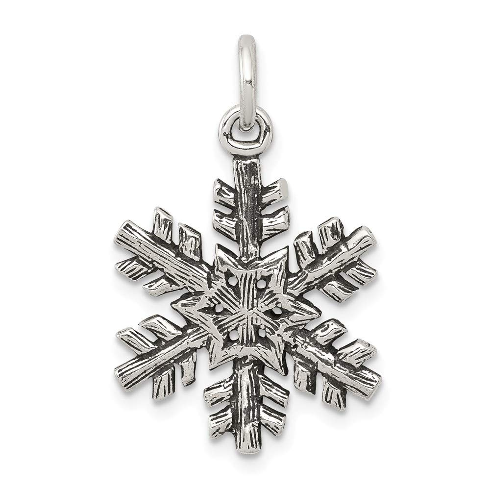 22mm Height x 17mm Width Solid 925 Sterling Silver Pendant Antiqued Snow Flake Charm