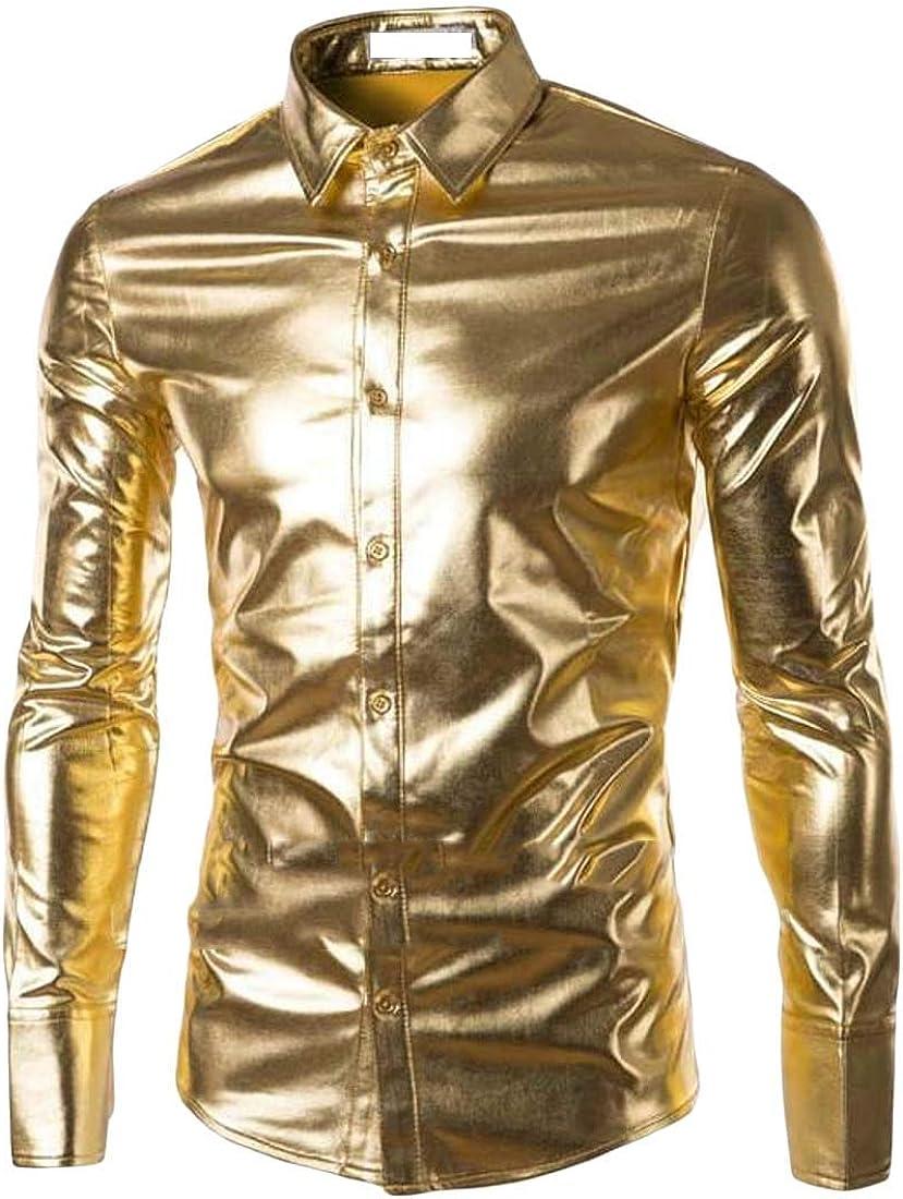 pipigo Mens Lapel Neck Metallic Casual Long Sleeve Curved Hem Button Down Shirts
