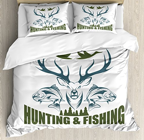 Ambesonne Hunting Duvet Cover Set Queen Size, Animals Emblem Moose Head Horns Trout Salmon Sea Fishes, Decorative 3 Piece Bedding Set with 2 Pillow Shams, Olive -