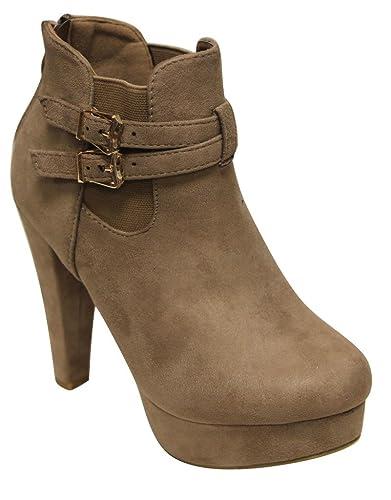 Tingo-36 women's platform elastic side rear zip buckle high heel ankle booties